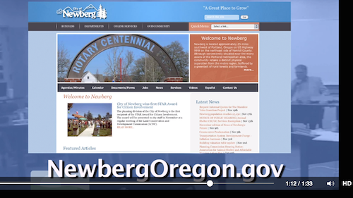 Newberg city site on video